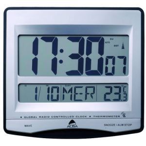 Alba Horloge LCD murale avec radio pilotée