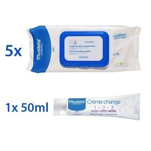 Mustela Jumbo Pack spécial change (5 x 70 lingettes + 1 crème change 50 ml)