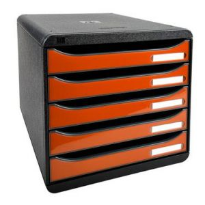 Exacompta 3097288D - BIG-BOX PLUS, coloris noir/tangerine brillant