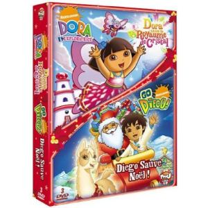Coffret Dora l'exploratrice : Dora sauve le royaume de cristal + Go Diego ! : Diego sauve Noël !
