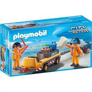 Playmobil 5396 City Action - Agents avec tracteur d'avion à bagages