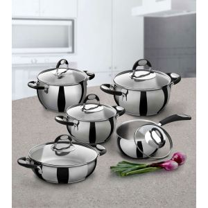 Bialetti Batterie de cuisine Belly Pot 10 pièces en inox