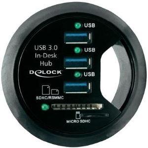 Delock 61991 - Hub USB 3.0 3 Ports + lecteurs de cartes SD