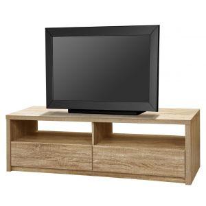 Champagne - Meuble TV en bois avec 2 portes et 2 niches L140 cm
