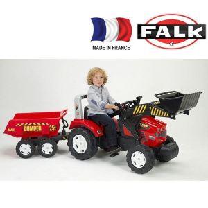 Falk Tractopelle à pédales Farm Master 950X avec remorque basculante