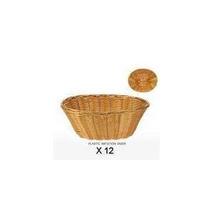Revimport 12 corbeilles à pain ovales en plastique imitation osier (18 x 22 cm)