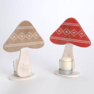 Amadeus Noël Légende - 2 photophores en bois forme champignon (21.5 cm)