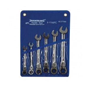 Silverline 277869 - Jeu de 6 clés mixtes à cliquet à tête inclinable 8 - 17 mm