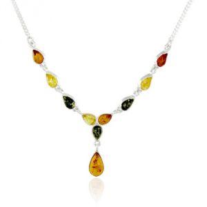 Rêve de diamants COBA01019 - Collier en argent 925/1000 et ambre