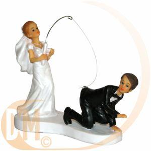 Figurine couple de mariés à la pêche (13 cm)