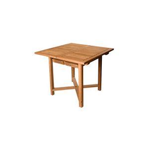 Table de jardin carrée extensible Pise en teck brut 90/140 x 90 x 74 cm