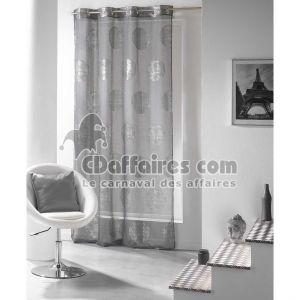 Platine - Voilage imprimé en argent 140 x 240 cm