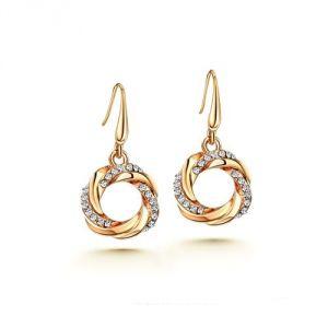 Blue Pearls Cry F314 L - Boucles d'oreilles Cercle en Cristal Blanc et plaqué rhoduim