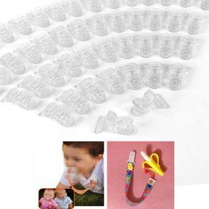 50 pinces à sucette bretelle avec attache clip plastique