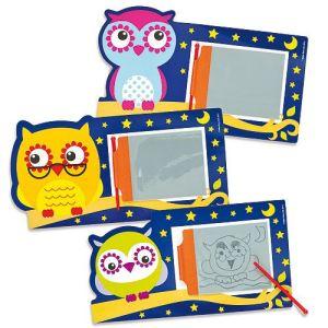 Baker Ross 6 ardoises magiques 3 Little Owls motif chouette