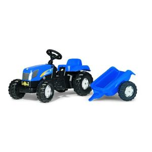 Rolly Toys Tracteur à pédales New Holland TVT 190 avec remorque