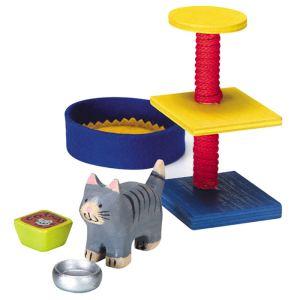 Selecta Set d'accessoires en bois pour chat de maison de poupée