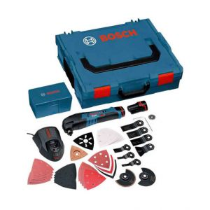 Bosch Professional GOP108V-LI36 10.8v Multi Tool - Outil multifonctions 2x10,8V 2,5Ah Li + 8 accessoires et coffret L-Boxx