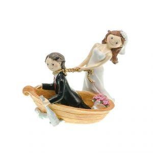 Chaks 80181 - Figurine en résine Couple de mariés dans barque (15 cm)