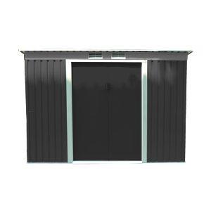 Abri de jardin en métal adossable 3.2 m² gris anthracite et kit d'ancrage inclus