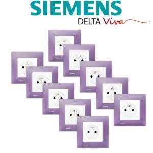 Siemens LOT 10 Prise 2P+T Blanc Delta Viva + Plaque Violet
