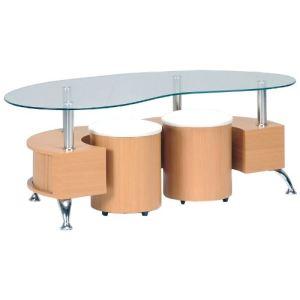 Table basse Omega avec 2 poufs