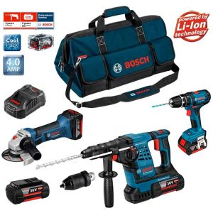 Bosch Kit sans fil RSB3618M2 - Perforateur + Meuleuse angulaire + Perceuses à percussion + Mandrin + Batteries