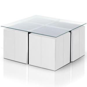 Table basse Cali en verre avec 4 poufs encastrables