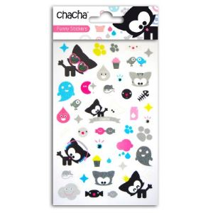 Teo & Zina Funny Stickers : Chacha 40 stickers glitter transparents