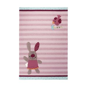 Unamourdetapis Tapis enfant Happy Friends Stripes en acrylique (70 x 140 cm)