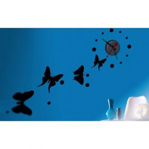 Horloge murale sticker Design Papillons