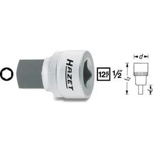 """Hazet 985-12 - Douille mâle Carré creux 12,5 mm (1/2"""") Taille: 12 L: 38 mm"""