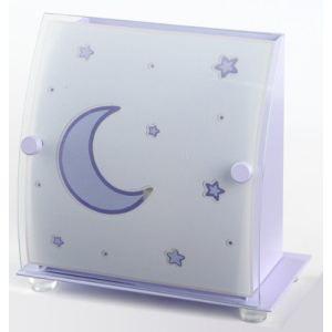 Dalber 45231L - Lampe de chevet carrée Décor Lune et Étoiles en métal et verre (19 cm)