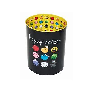 Incidence Corbeille à papier Happy colors en métal