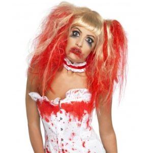 Perruque poupée sanglante coifée Halloween