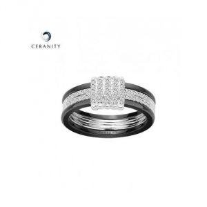 Ceranity 12/0075 N - Bague céramique et argent avec oxyde de zirconium