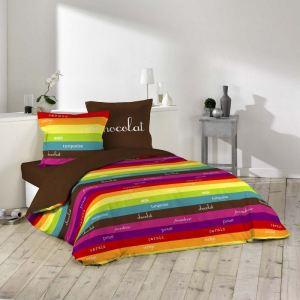 Friandise - Drap plat, drap housse et 2 taies 100% coton 42 fils (140 x 190 cm)
