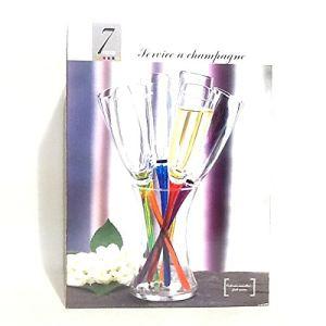 Cristal de paris 6 flûtes à champagne avec seau support (17 cm)