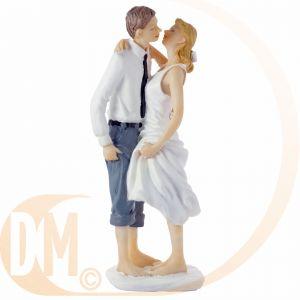 Figurine couple de mariés les pieds dans l'eau (14.5 cm)