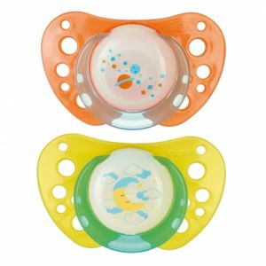 Chicco 2 sucettes Physio Air lumineuse en silicone (12 mois +)