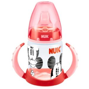 Nuk 10215062 - Biberon d'apprentissage Mickey et Minnie 150 ml avec tétine en silicone