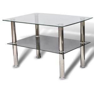 VidaXL Table basse en verre 2 plateaux