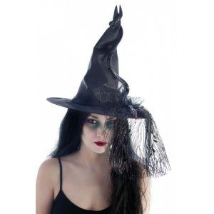 Ptit Clown RE14099 - Chapeau sorcière adulte tissu noir