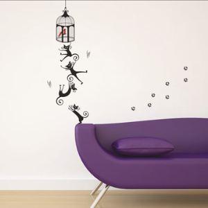 dws003 - 15 stickers mural Cage à Oiseaux et Chat