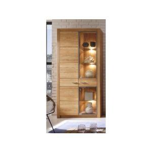 Vitrine design Malpensa avec éclairage en bois (96 cm)