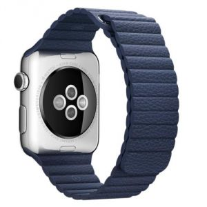 Apple Bracelet de montre Apple watch 42mm acier/cuir bleu nuit large