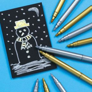 Baker Ross 6 feutres métallisés dorés et argentés pour loisirs créatifs de Noël