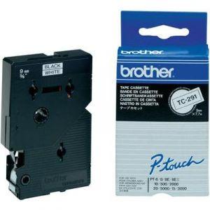 Brother TC291 - Ruban d'étiquettes 9mm noir sur blanc.