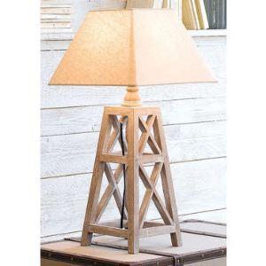 SEYNAVE Lampe à poser Cepang en bois avec abat-jour en lin (58 cm)