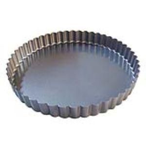 Image de De Buyer 4705.28 - Moule à tarte rond cannelé fond fixe en acier (28 cm)